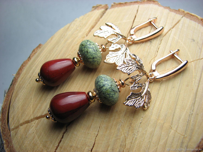 Earrings serpentine and red Jasper 'Spring joy', Earrings, Moscow,  Фото №1