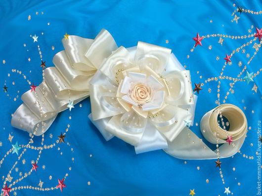 """Подарки для новорожденных, ручной работы. Ярмарка Мастеров - ручная работа. Купить Бант на выписку """"Мой ангел"""" с розой. Handmade. Разноцветный"""