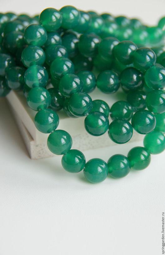 Для украшений ручной работы. Ярмарка Мастеров - ручная работа. Купить Зеленый агат  бусины РАВНОВЕСИЕ природный 10 мм. Handmade.