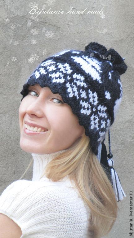 Шапки ручной работы. Ярмарка Мастеров - ручная работа. Купить Шапка-шарф  с жакардовым узором. Handmade. Черный, оригинальный