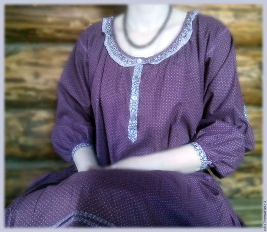 Платья ручной работы. Ярмарка Мастеров - ручная работа. Купить Платье в горошек. Handmade. Тёмно-фиолетовый, длинное платье