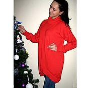 Одежда handmade. Livemaster - original item Sweater knitted coral oversized. Handmade.