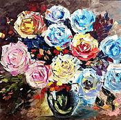 """Картины и панно ручной работы. Ярмарка Мастеров - ручная работа Картина маслом интерьерная """" Розы"""", цветы полуабстрактные. Handmade."""