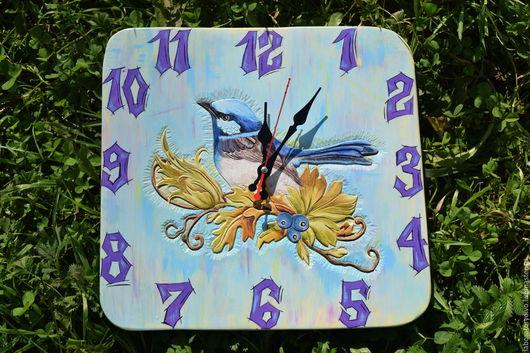 """Часы для дома ручной работы. Ярмарка Мастеров - ручная работа. Купить Часы интерьерные """"Птичка на ветке"""". Handmade. Голубой"""