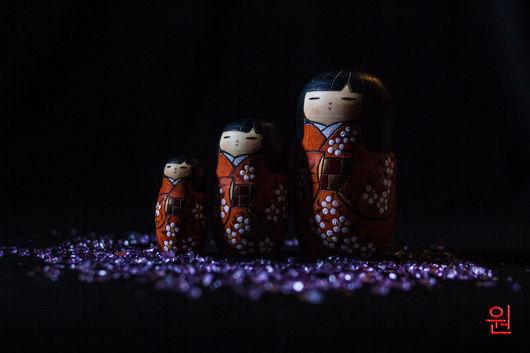 """Народные куклы ручной работы. Ярмарка Мастеров - ручная работа. Купить Японская кукла kokeshi """"Каяо"""". Handmade. Оранжевый"""