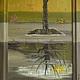 Картина `Отражение в луже`, х/м, переходящая на деревянный багет рамы.