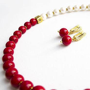 Украшения ручной работы. Ярмарка Мастеров - ручная работа Ожерелье из серьги из жемчуга и красного коралла. Handmade.