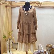Одежда ручной работы. Ярмарка Мастеров - ручная работа Льняное платье Монвизо, 100% лен, муслин, бохо. Handmade.