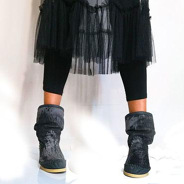 Обувь ручной работы. Ярмарка Мастеров - ручная работа Осенние полусапожки из стриженого пони /серо.черные/. Handmade.