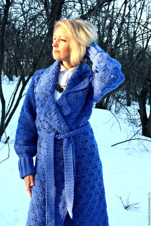 """Верхняя одежда ручной работы. Ярмарка Мастеров - ручная работа. Купить Вязаное пальто """"Небеса"""". Handmade. Абстрактный, ручная работа"""