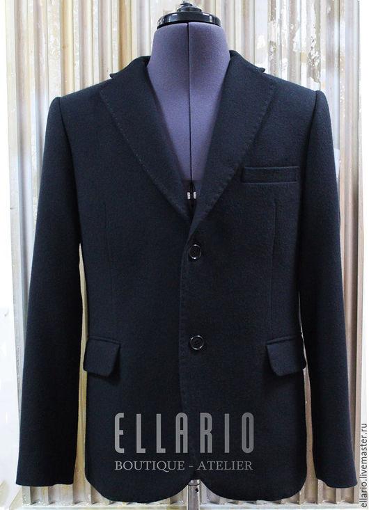 Для мужчин, ручной работы. Ярмарка Мастеров - ручная работа. Купить Пиджак из кашемира ELLARIO Basic. Handmade. Черный, пиджак