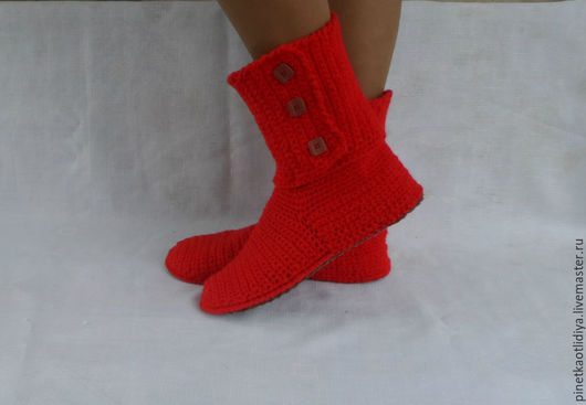 """Обувь ручной работы. Ярмарка Мастеров - ручная работа. Купить Вязаные сапожки """"Алые паруса"""".. Handmade. Ярко-красный"""