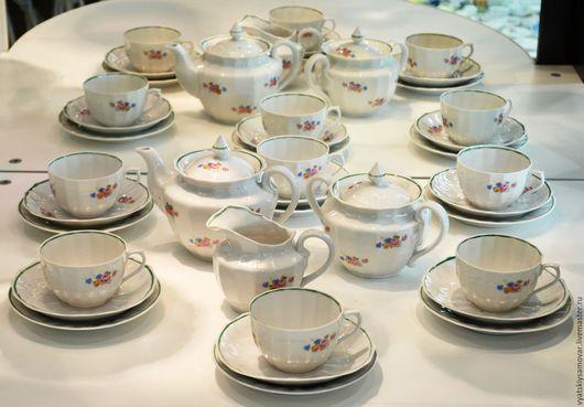 Винтажная посуда. Ярмарка Мастеров - ручная работа. Купить Чайный сервиз на 6 персон Вербилки ДФЗ. Handmade. Белый, фарфор