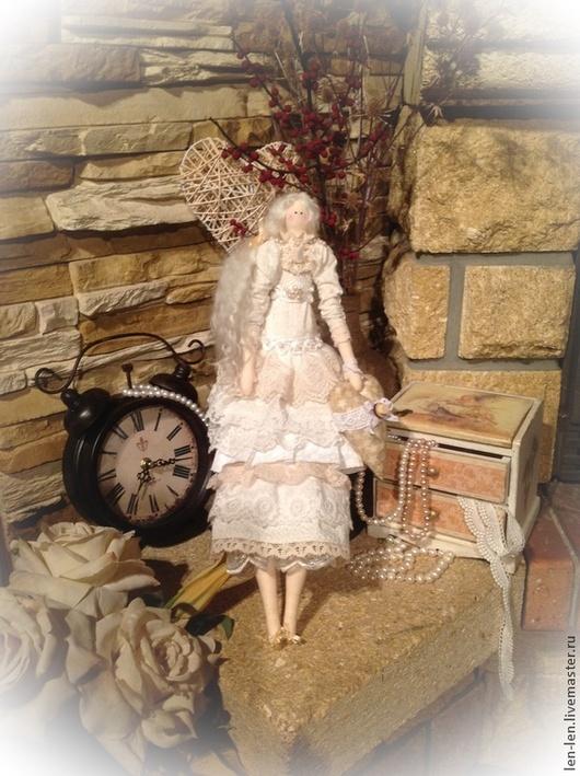 Куклы Тильды ручной работы. Ярмарка Мастеров - ручная работа. Купить Тильда Илэрия. Handmade. Бежевый, шебби-шик, бисер