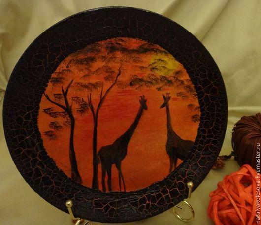 """Вазы ручной работы. Ярмарка Мастеров - ручная работа. Купить Тарелки """"Африканские пейзажи"""". Коллекция работ """"Африка"""".. Handmade. Черный"""