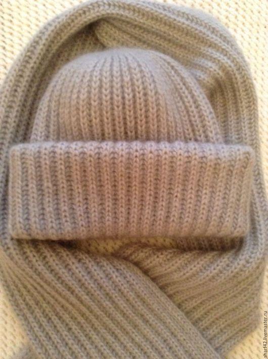 Шапки ручной работы. Ярмарка Мастеров - ручная работа. Купить Светло-серая шапочка в стиле Tak.Ori. И мягкий как шелк пушистый шарф.. Handmade.