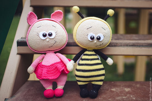 Человечки ручной работы. Ярмарка Мастеров - ручная работа. Купить Кукла Бонни в костюме (пчелка и поросенок). Handmade. Комбинированный