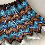 """Работы для детей, ручной работы. Ярмарка Мастеров - ручная работа Детская вязаная юбка """"Нарядная"""" сине-коричневая. Handmade."""