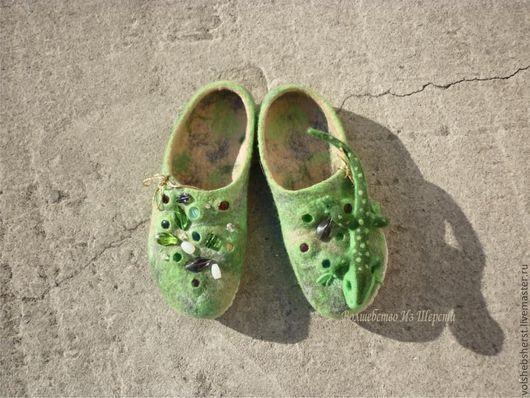Обувь ручной работы. Ярмарка Мастеров - ручная работа. Купить Валяные тапочки Хозяйка медной горы. Handmade. Зеленый, кабошоны