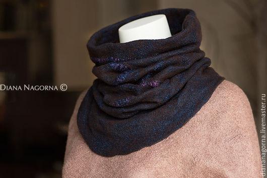 Шарфы и шарфики ручной работы. Ярмарка Мастеров - ручная работа. Купить Шерстяной шарф-снуд. Handmade. Тёмно-синий