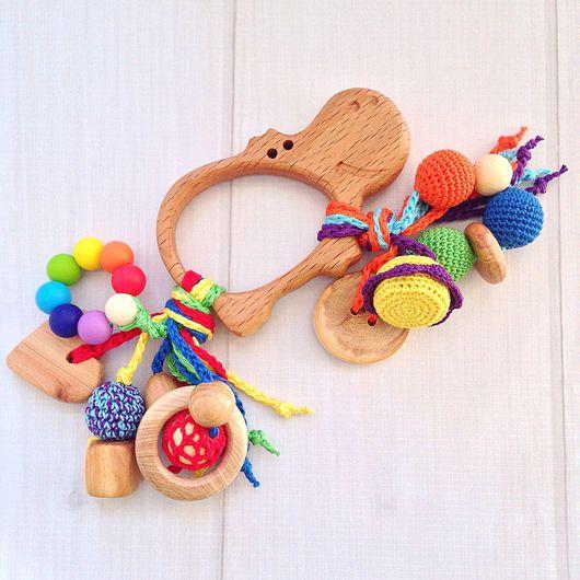 Развивающие игрушки ручной работы. Ярмарка Мастеров - ручная работа. Купить Буковый грызунок Бегемотик с подвесками из разных бусин. Handmade.