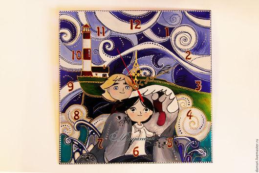 """Часы для дома ручной работы. Ярмарка Мастеров - ручная работа. Купить Часы детские настенные """"Песнь моря"""". Handmade."""