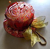 Материалы для творчества handmade. Livemaster - original item Pincushion, hat,Golden, red. Handmade.