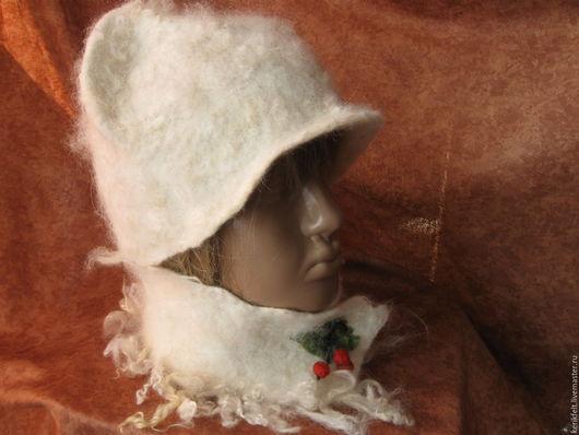 """Шапки ручной работы. Ярмарка Мастеров - ручная работа. Купить Шапка и маленький шарфик """"Белее снега"""" Войлок. Handmade. Белый"""