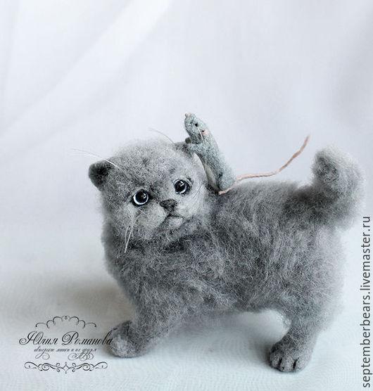 Игрушки животные, ручной работы. Ярмарка Мастеров - ручная работа. Купить британский кот Марсик и крысик Марчелло. Handmade. Серый