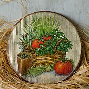 """Для дома и интерьера ручной работы. Ярмарка Мастеров - ручная работа Сырная доска """"Ароматные травы"""". Handmade."""