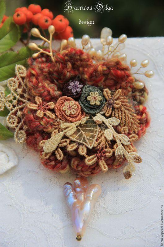 """Броши ручной работы. Ярмарка Мастеров - ручная работа. Купить """"Рыжая осень"""".Авторская брошь.. Handmade. Рыжий, брошь-цветок"""