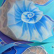 Аксессуары handmade. Livemaster - original item Batik scarf Waves silk crepe de Chine 100% hand painted. Handmade.