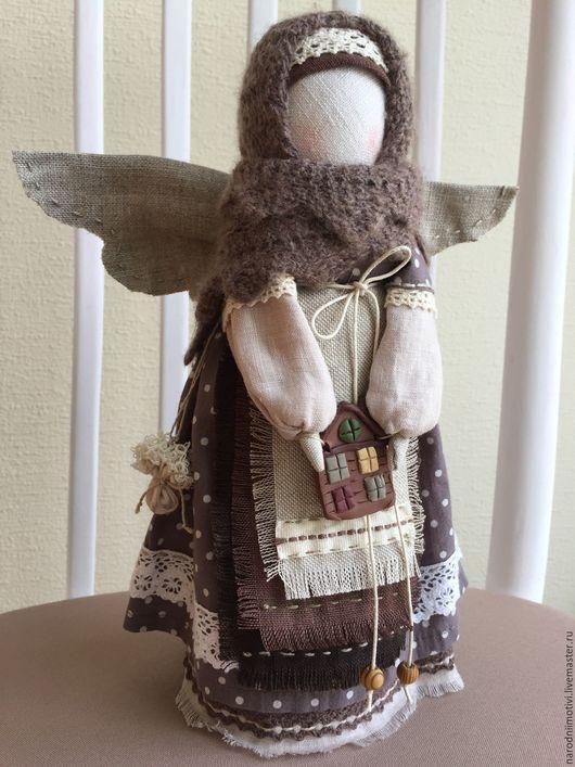 Ангел хранитель, ангелок, текстильный ангел, обережные куклы, народные традиции,обережные куклы, оберег для дома, голубой, русский стиль, коричневый, бежевый, ангел в дом, кофейный.
