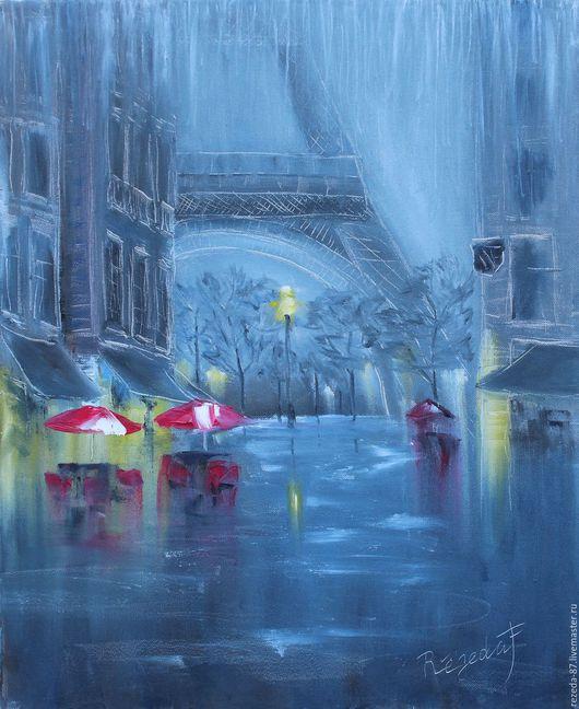 Город ручной работы. Ярмарка Мастеров - ручная работа. Купить Картина маслом в стиле импрессионизм,париж эйфелева башня по дождем. Handmade.
