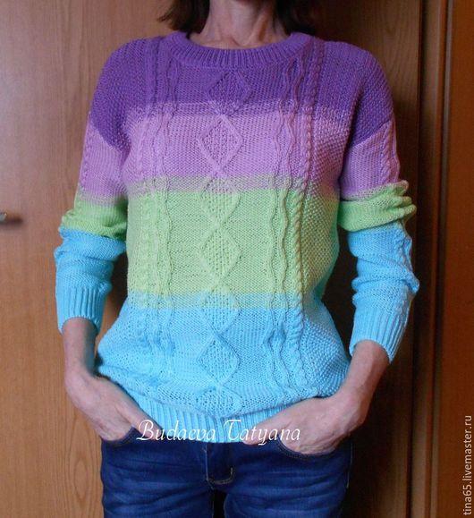 """Кофты и свитера ручной работы. Ярмарка Мастеров - ручная работа. Купить Пуловер """"Запах весны"""". Handmade. Комбинированный, сиреневый цвет"""