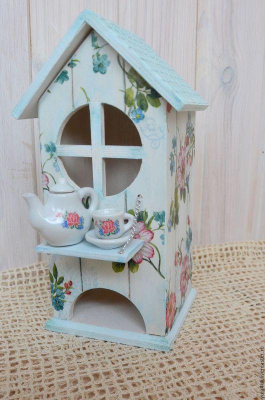 Кухня ручной работы. Ярмарка Мастеров - ручная работа. Купить Чайный домик с миниатюрной посудой. Handmade. Голубой, домик с птицей