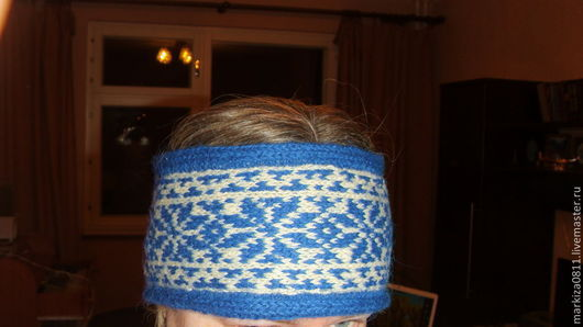Повязки ручной работы. Ярмарка Мастеров - ручная работа. Купить вязаная повязка на голову с норвежским жаккардовым узором. Handmade. Разноцветный