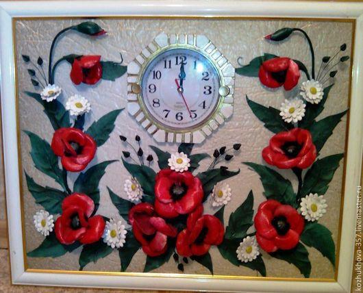 """Часы для дома ручной работы. Ярмарка Мастеров - ручная работа. Купить Авторская картина-часы из кожи""""Маки, красные маки..."""". Handmade."""
