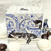 """Для дома и интерьера ручной работы. Ярмарка Мастеров - ручная работа Короб """"Котята в посудной лавке"""". Handmade."""