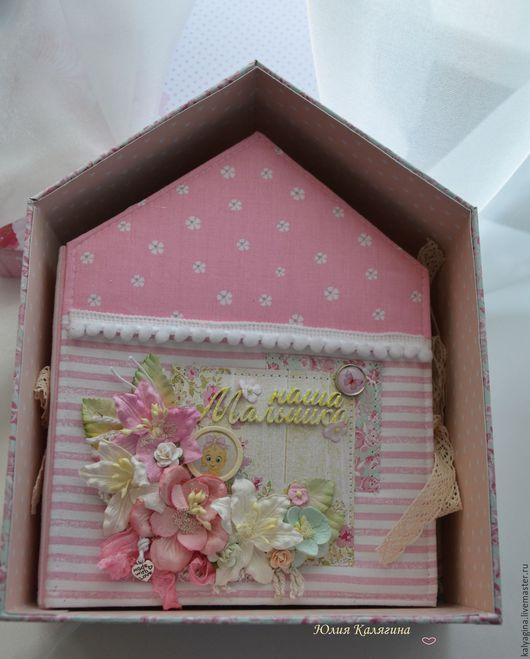 Персональные подарки ручной работы. Ярмарка Мастеров - ручная работа. Купить Альбом-домик. Handmade. Розовый, ткань хлопок, ленты
