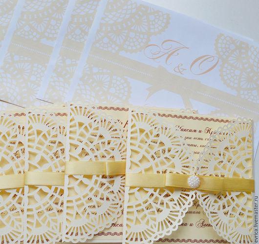 """Свадебные аксессуары ручной работы. Ярмарка Мастеров - ручная работа. Купить """"Ажур""""  приглашения. Handmade. Комбинированный, бумага дизайнерская"""