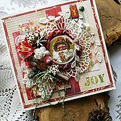 Открытки ручной работы. Ярмарка Мастеров - ручная работа Открытка новогодняя Улыбка Санта Клауса. Handmade.