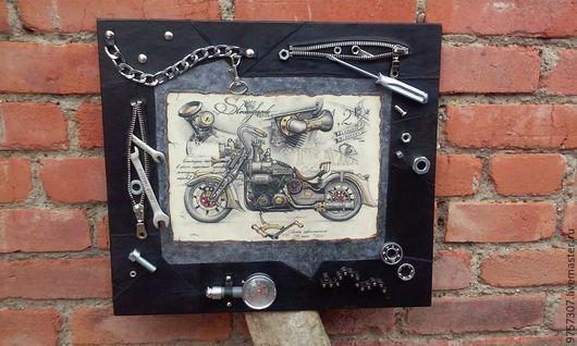 """Город ручной работы. Ярмарка Мастеров - ручная работа. Купить Панно """"Подарок байкеру."""". Handmade. Мотоцикл, картина в подарок"""