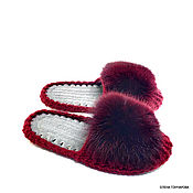 Обувь ручной работы handmade. Livemaster - original item Slippers: Flip-flops with fur, burgundy half-wool. Handmade.