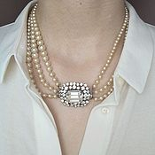Винтаж handmade. Livemaster - original item Necklace clasp vintage artificial pearls with crystals massive. Handmade.