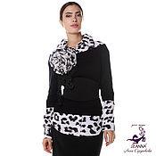 """Одежда ручной работы. Ярмарка Мастеров - ручная работа Джемпер с имитацией рубашки """"Снежный Барс"""" + пояс  в комплекте. Handmade."""