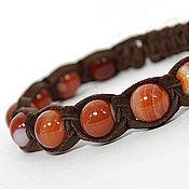 Украшения handmade. Livemaster - original item Shamballa bracelet made of leather with onyx. Handmade.