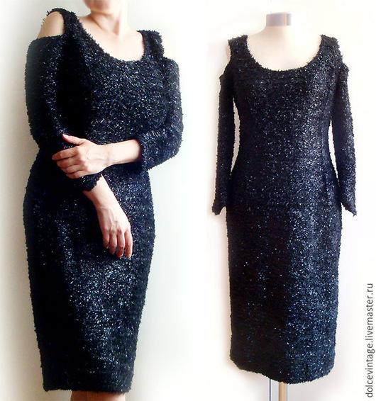 Винтажное маленькое черное платье, итальянское вечернее платье.