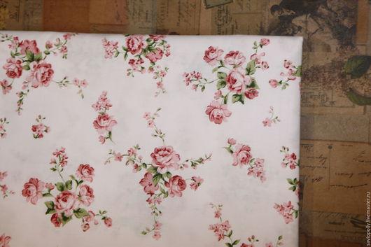 Шитье ручной работы. Ярмарка Мастеров - ручная работа. Купить Ткань хлопок  цветы. Сатин. 100% Хлопок. Handmade. Белый