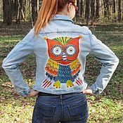 """Одежда ручной работы. Ярмарка Мастеров - ручная работа Джинсовая куртка """"Сова"""" (р.48). Handmade."""